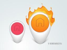 Glossy web navigation pins with fire flame on grey background.