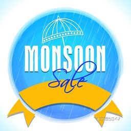 Creative Monsoon Sale sticky design with umbrella and blank golden ribbon on shiny background.
