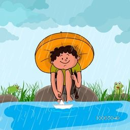 Cute little boy with umbrella, sitting at the river side and playing with paper boat on a rainy day, Beautiful illustration for Monsoon Season concept.