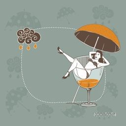 Illustration of a young girl in beer glass under umbrella on stylish background for Monsoon Season.