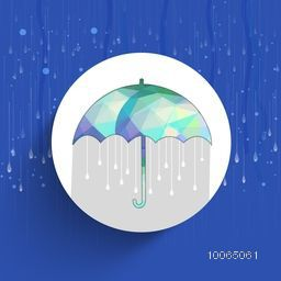 Creative sticky design with polygonal umbrella on rain drops decorated blue background for Monsoon Season.