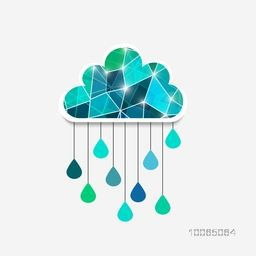 Creative polygonal cloud with hanging rain drops on grey background for Happy Monsoon Season, can be used as sticker, tag or label design.