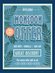 Monsoon Offer with great discount, Vintage template, banner or flyer design decorated with green trees on blue background.
