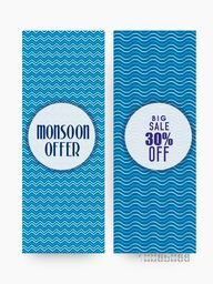 Creative sale website banner set with big discount offer for Monsoon Season.