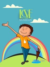 Cute little boy holding closed umbrella on beautiful rainbow background for Happy Monsoon Season, can be used as template, banner or flyer design.