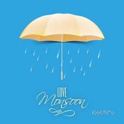 Beautiful glossy golden umbrella on raindrops decorated blue background for Happy Monsoon Season.