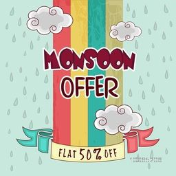 Monsoon Offer with flat 50% discount, Vintage poster or banner design decorated with clouds and raindrops.
