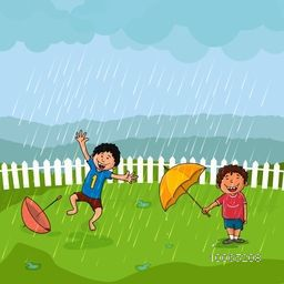 Cute little boys dancing and enjoying in rains on nature background, Beautiful illustration for Monsoon Season concept.