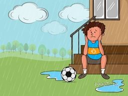 Illustration of a sad little boy with soccer ball in a rainy day on nature background.