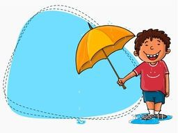Cute little boy holding umbrella with blank blue frame for Rainy Day concept.