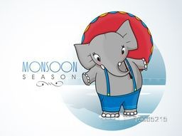 Cute elephant with an umbrella on shiny background for Happy Monsoon Season.