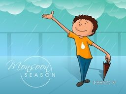 Cute little boy with closed umbrella, in a cloudy rainy day on blue background for Monsoon Season.