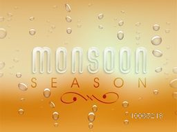 Beautiful poster, banner or flyer design with stylish text Monsoon Season on shiny water drops background.