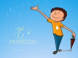 Cute little boy with a closed umbrella in rains on blue background for Monsoon Season.