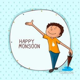Cute little boy waiting for rains with stylish frame for Happy Monsoon concept.