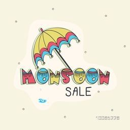 Stylish Monsoon Sale poster, banner or flyer design with umbrella.