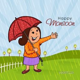 Illustration of a happy woman holding an umbrella and standing in rains on nature background for Happy Monsoon.