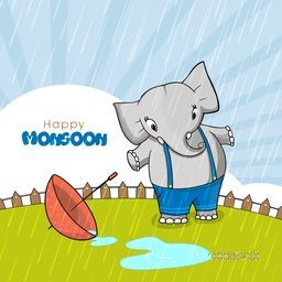 Cute little elephant with umbrella stnding and enjoying rains on rays background for Happy Monsoon concept.