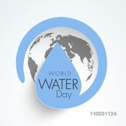 Sticker, tag or label with water drop and earth for World Water Day concept.