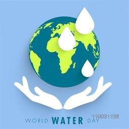 Creative illustration of human hand protecting earth and water drop for Save Water, World Water Day concept.