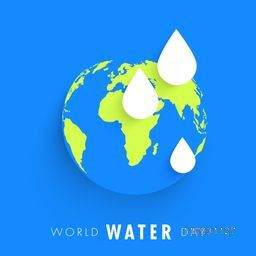 World Water Day concept with creative illustration of earth and water drop on sky blue background.