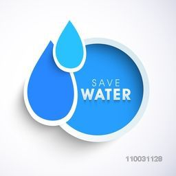 Stylish sticker, tag or label with blue creative water drop for World Water Day concept.