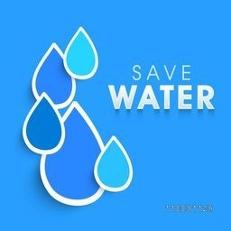 World Water Day concept with creative water drop and text Save Water on sky blue background.
