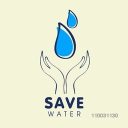 Illustration of human hand protecting water drop for save water, World Water Day concept.