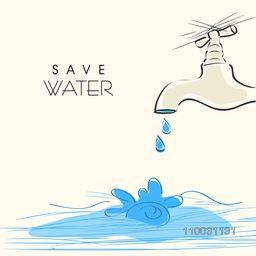 Illustration of open tap with pouring water for save water, World Water Day concept.