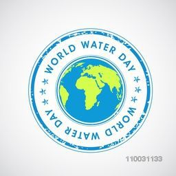 Creative sky blue rubber stamp with globe for World Water Day concept.