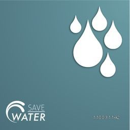 Stylish poster, banner or flyer with water drop on glossy background and text Save Water.