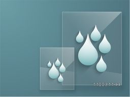 Creative illustration of water drop on transparent square glass for World Water Day concept.
