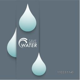 Creative water drop with text Save Water for World Water Day concept.