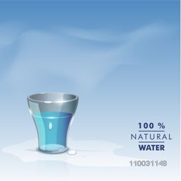 Illustration of a bucket full of water with text 100% Natural Water for World Water Day concept.