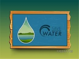 Stylish frame with illustration of sea view in a water drop for World Water Day concept.