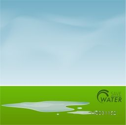 World Water Day concept with illustration of water falling on ground for save water.