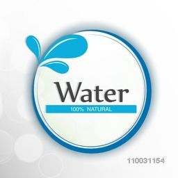 Stylish sticker, tag or label with text Water 100% Natural and water drop on shiny grey background for World Water Day concept.