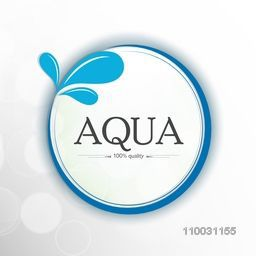 Stylish sticker, tag or label with text Aqua and water drop on shiny grey background for World Water Day concept.