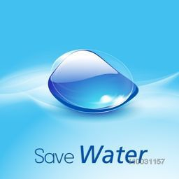 Glossy creative water drop with stylish text Save Water on sky blue background for World Water Day concept.