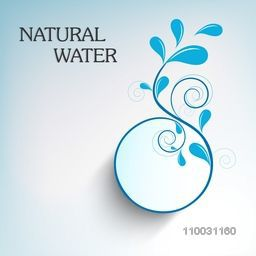 World Water Day sticker, tag or label with stylish floral design made by water drops and text Natural Water on sky blue background.