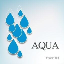 Creative blue water drop with stylish text Aqua on sky blue background for World Water Day concept.