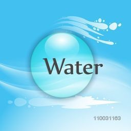 World Water Day concept with glossy creative sphere and text Water on sky blue background.