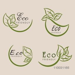Stylish typographic collection with creative leaves design for World Environment Day concept.