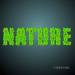 Stylish beautiful text Nature made by fresh green leaves and ladybird on glossy background.