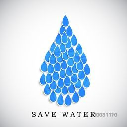 Creative big water drop made by little paper blue water drop with stylish text Save Water on grey background for World Water Day concept.