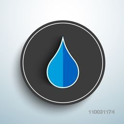 Stylish sticker, tag or label with paper cutout of blue water drop on sky blue background for World Water Day concept.