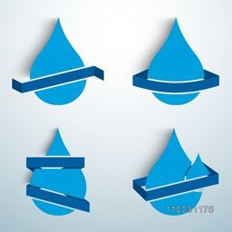 Blue blank water drops stickers, tags or label for World Water Day concept.