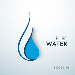 Creative blue water drop with text Pure Water on sky blue background for World Water Day concept.