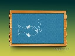 Stylish frame with cute illustration of hand drawn fish in water for World Water Day concept.