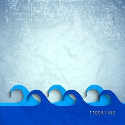Creative sky blue water waves on grungy background for World Water Day concept.
